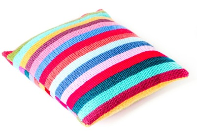 Striped Tunisian crochet cushion